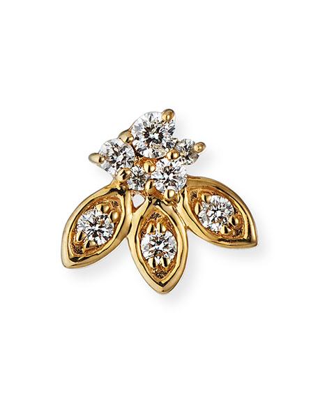 Sydney Evan Single 14k Gold Diamond Petal Stud Earring