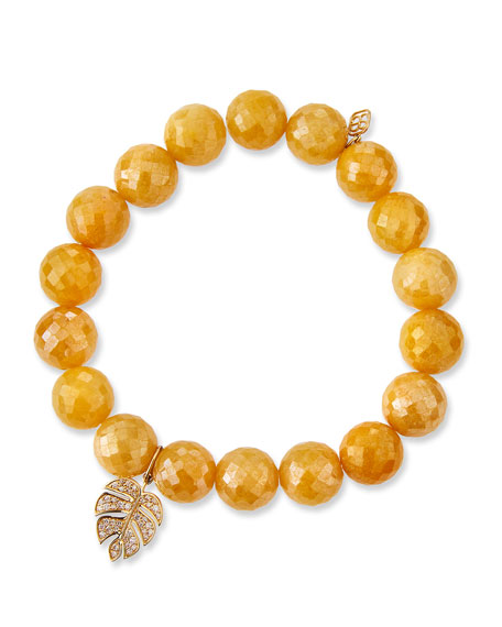 Image 1 of 2: Sydney Evan Yellow Silverite & Diamond Monstera Leaf Bracelet