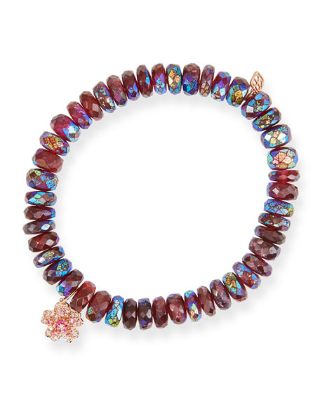 Sydney Evan Rhodolite Garnet Bead Bracelet with 14k Rose Gold Sakura Charm