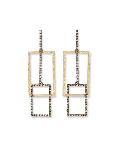 Brutalist Crystal Encrusted Link Earrings