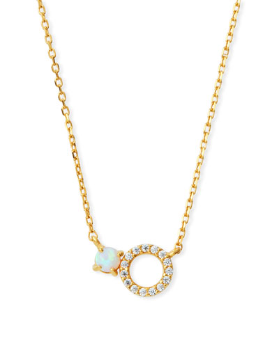 Mini Opal Circle Pendant Necklace