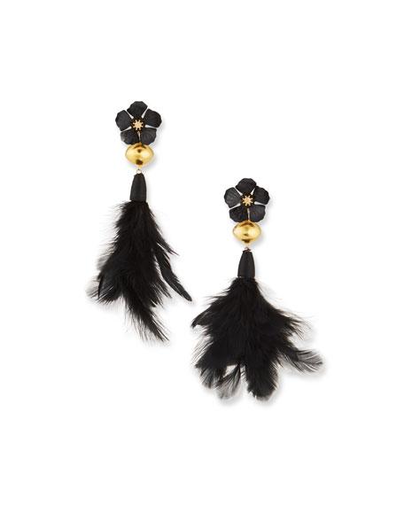 Devon Leigh Flower & Feather Drop Earrings