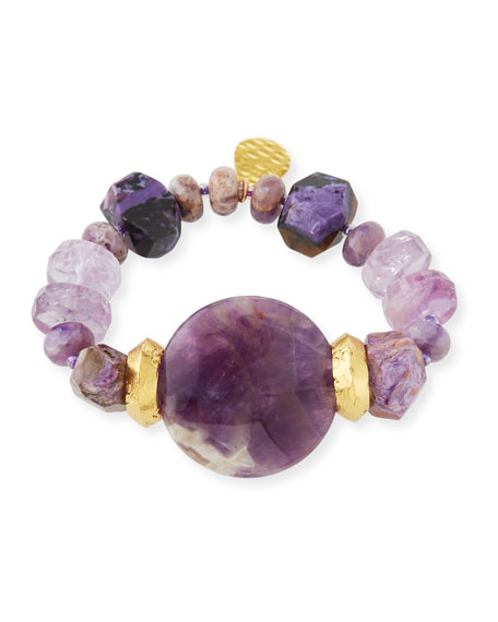 Devon Leigh Purple Stone Stretch Bracelet