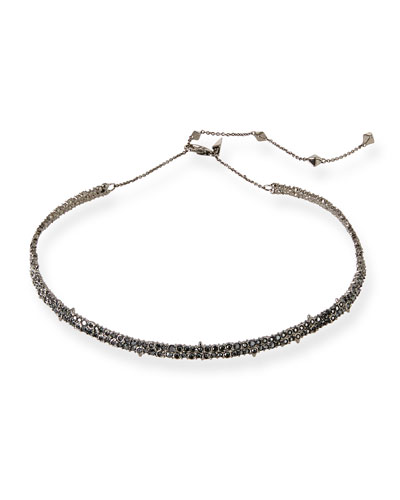 Crystal Encrusted Spike Choker Necklace, Black