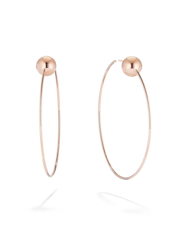 14k Gold Bead Post Hoop Earrings