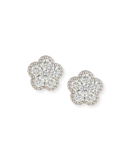 Roberto Coin 18k White Gold Diamond Flower Stud Earrings