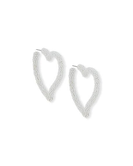 Sachin & Babi Seed Bead Heart Hoop Earrings, White