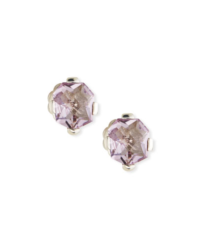 Stephen Dweck Pink Amethyst Freeform Stud Earrings