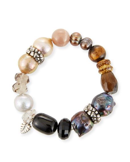 Stephen Dweck Stone & Pearl Stretch Bracelet