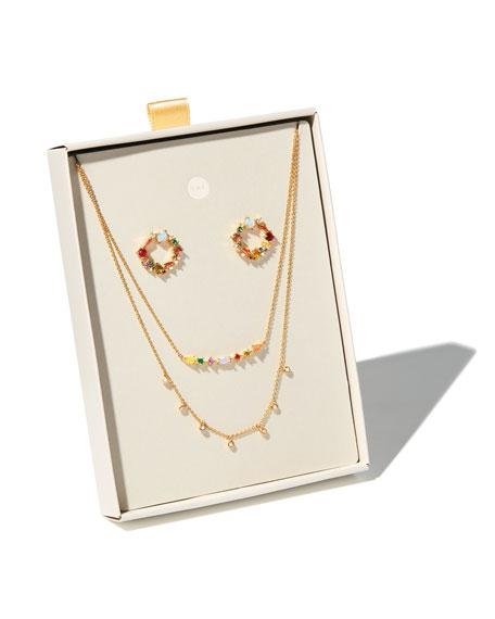 Tai Cubic Zirconia Rainbow Earrings & Necklace Set