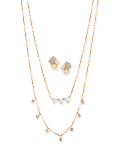 Cubic Zirconia Opal Earrings & Necklace Set