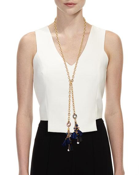 Akola Chain & Raffia Tassel Lariat Necklace