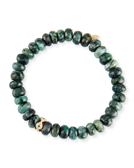 Sydney Evan Emerald, Diamond & Sapphire Evil Eye Bracelet