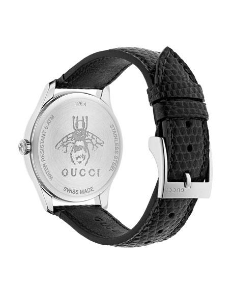 Gucci 36mm G-Timeless Diamond Watch w/ Lizard Strap