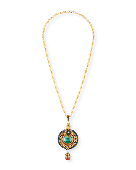Jose & Maria Barrera Malachite & Jasper Pendant Necklace