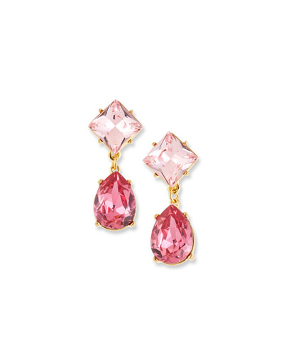 Crystal Square & Teardrop Earrings, Pink