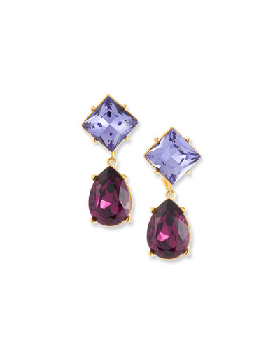Crystal Square & Teardrop Earrings  Purple