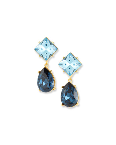 Crystal Square & Teardrop Clip-On Earrings, Blue