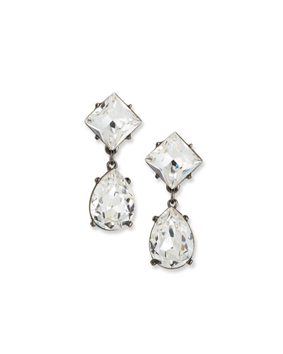 Crystal Square & Teardrop Earrings