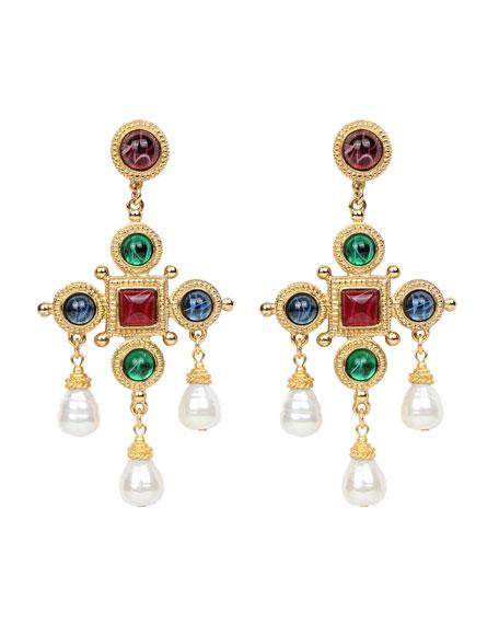 Ben-Amun Cross & Pearly Dangle Earrings