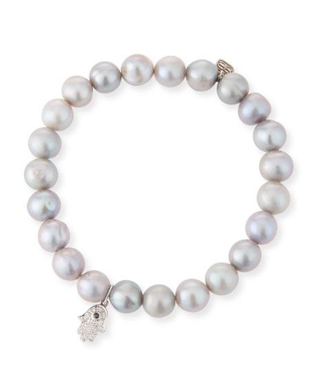 Sydney Evan 8mm Pearl & Diamond Hamsa Bracelet