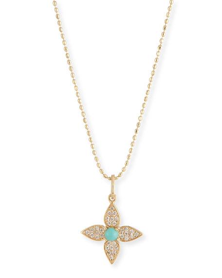 Sydney Evan 14k Diamond & Turquoise Paisley Flower Necklace