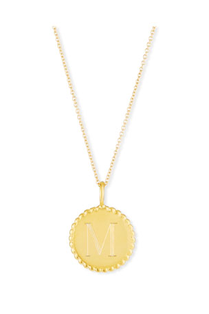 Sarah Chloe Madi Engraved Initial Pendant Necklace