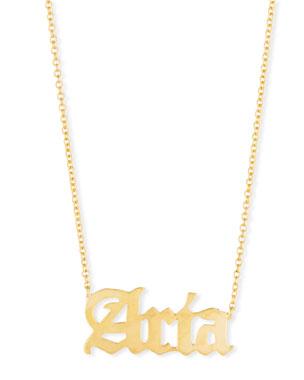 242a9041aaf910 Sarah Chloe Ava Gothic Name Pendant Necklace