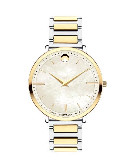 Movado 35mm Ultra Slim Bracelet Watch, Gold/Silver