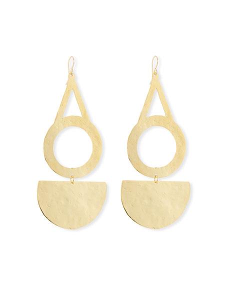 Devon Leigh Circle Half-Disk Drop Earrings