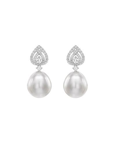 Bridal 18k White Gold  Diamond & Pearl Spade Earrings