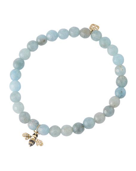 Sydney Evan 14k Diamond/Sapphire Bee & Aquamarine Bracelet