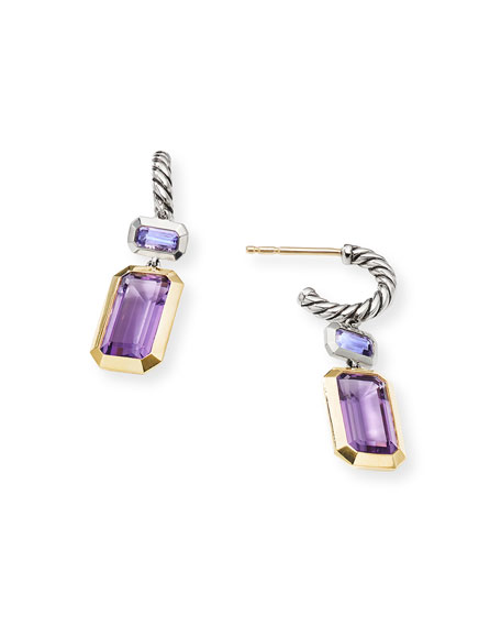 Image 3 of 3: David Yurman Novella 2-Stone & 18k Gold Drop Earrings