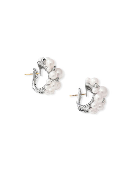 David Yurman Large Pearl & Diamond Cluster Hoop Earrings