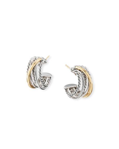 David Yurman DY Crossover Huggie Hoop Earrings w/ 18k Gold