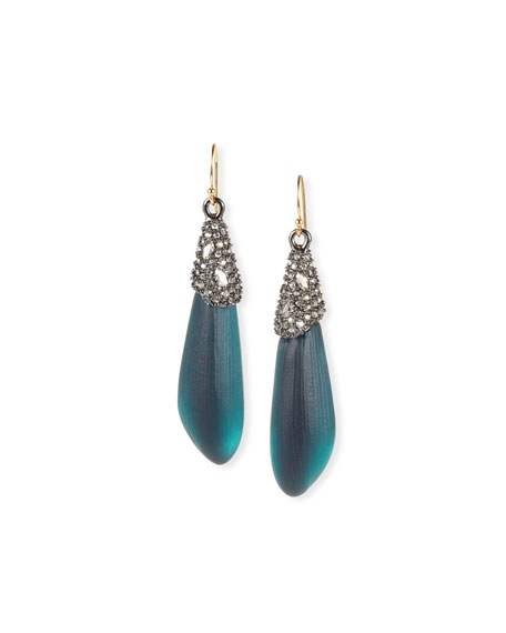 Alexis Bittar Crystal Encrusted Capped Wire Earrings, Blue