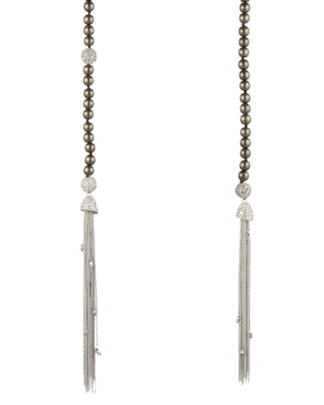 Alexis Bittar Crystal Encrusted Pearly Sautoir Tassel Necklace