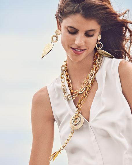 Akola Adjustable Chain & Horn Lariat Necklace, White