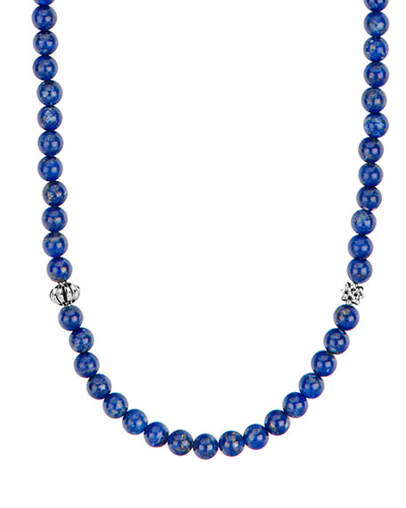 Image 1 of 4: Lagos Caviar Icon Long Necklace, Lapis