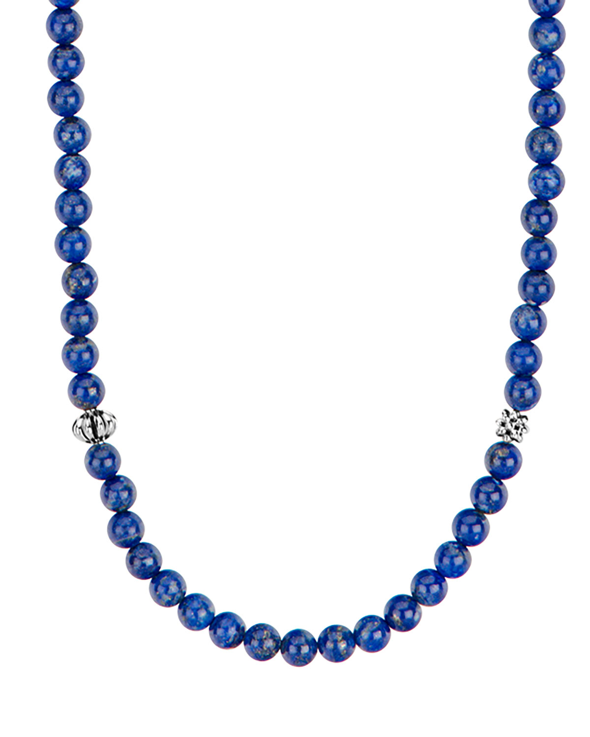 Lagos Caviar Icon Long Necklace, Lapis