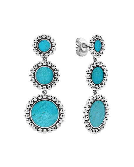LAGOS Maya 3-Drop Earrings, Turquoise