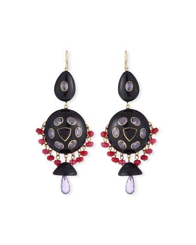 Timu Horn & Stone Dangle Earrings