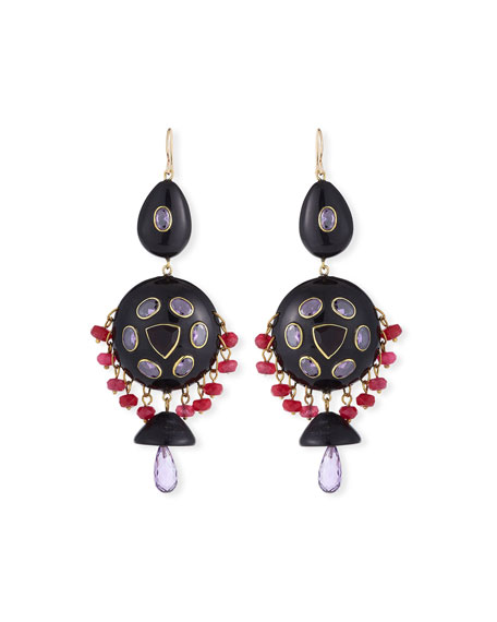 Ashley Pittman Timu Horn & Stone Dangle Earrings