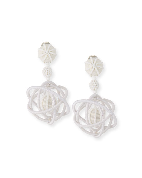 Oscar de la Renta Embroidered Globe Clip-On Earrings
