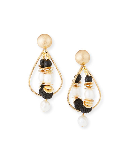 Akola Double-Hoop Drop Earrings, Black/White