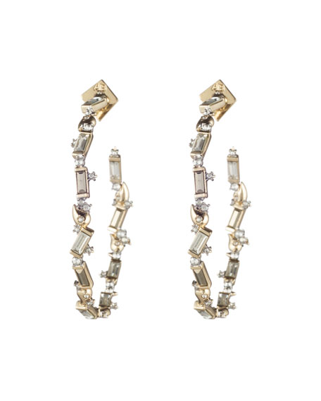 Alexis Bittar Crystal Baguette Hoop Earrings