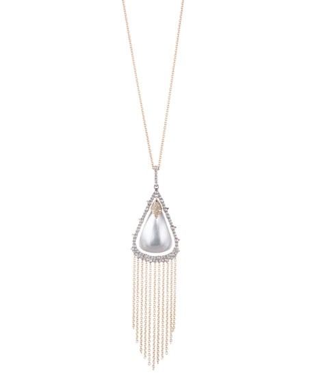 Alexis Bittar Crystal Capped Tassel Chain Necklace