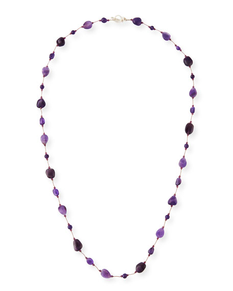 "Margo Morrison Long Amethyst Combo Necklace, 36""L"