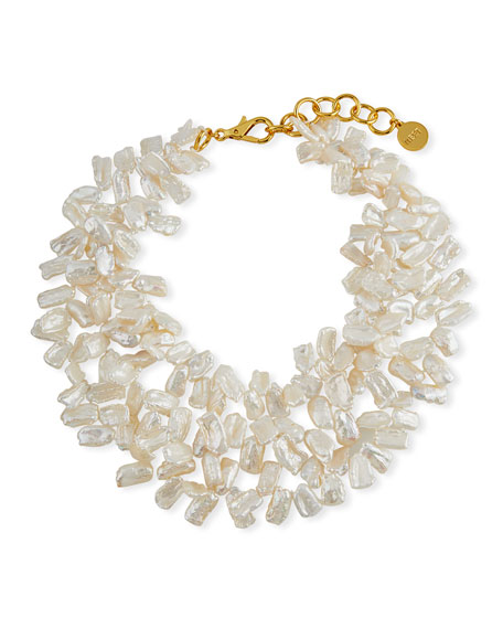 NEST Jewelry Pearl Cluster Statement Necklace