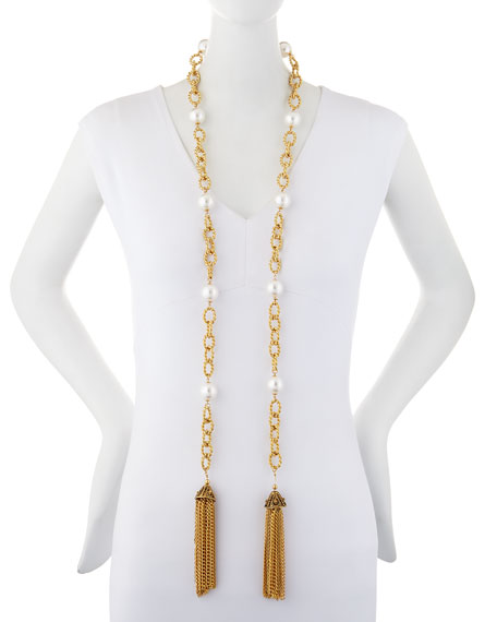 Kenneth Jay Lane Extra-Long Pearly Tassel Necklace